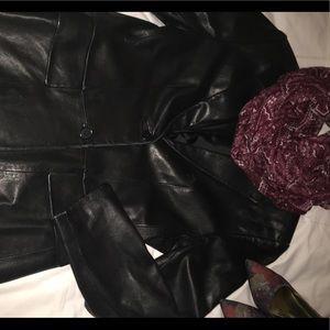 Lord & Taylor Tailored Black Leather Blazer szPM